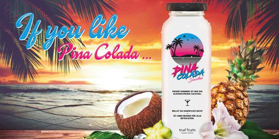 """Da man im Sommer 2020 die kilometerlangen, feinen Sandstrände, das türkisfarbene Meer & die im Wind tanzenden Kokospalmen der Karibik wahrscheinlich nicht zu sehen bekommt, holt true fruits sich das Urlaubsfeeling eben auf den heimischen Balkon: mit der Sommer Edition """"Pina Colada"""". Zwar kann unsere Sommeredition die Karibik nicht ersetzen, trotzdem bekommt man mit dem Mix aus Ananas, Kokos, Banane, Apfel, Orange, Mango, Zitrone und Cupuaçu das volle Cocktail-Geschmackserlebnis – auch ohne Rum!"""